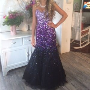 Mori Lee purple prom dress